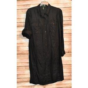 Lauren Ralph Lauren Black Linen Shirt Dress 22W